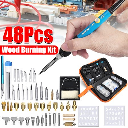 48Pcs/8Pcs 60W 110V Electric Soldering Iron Tool Gun Kit Adjustable Temperature Welding with Tool Carry Case 5Pcs Solder Iron Tips, Multimeter Set, Soldering Station, LED light