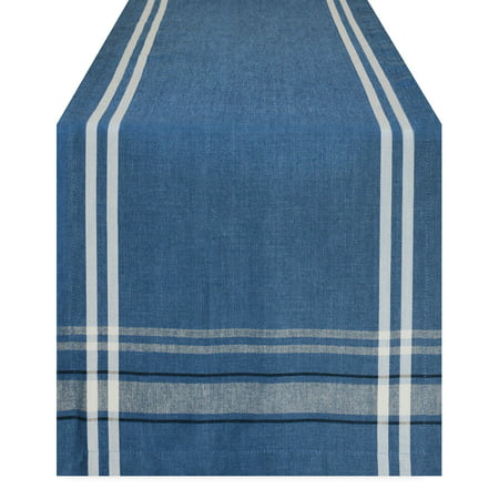 Design Imports Chambray French Stripe Table Runner, 72