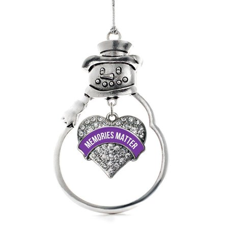 2.5 Inch Snowman Bell Ornament - Memories Matter Alzheimer's Awareness Pave Heart Snowman Holiday Decoration Christmas Tree Ornament, This 2.5 inch ornament is crafted from.., By Inspired Silver