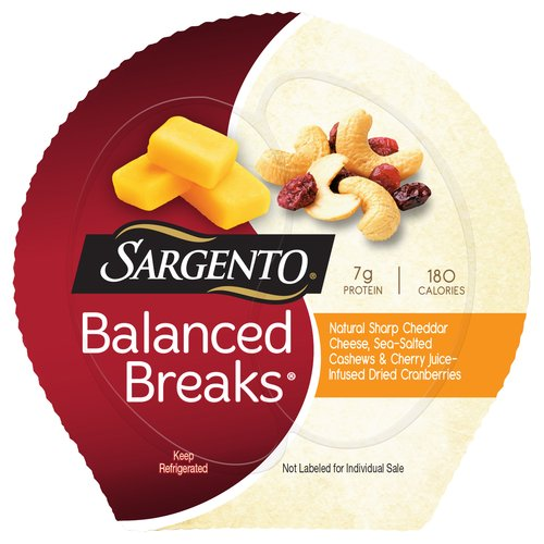 Sargento® Balanced Breaks™ Natural Sharp Cheddar Cheese/Cashews/Dried Cranberries Snacks 3-1.5 oz. Packs