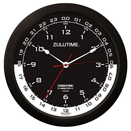 "Trintec 14"" 12 & 24 Hour Military Time Swl Zulu Time 24hr Black with White Moon Wall Clock - Dial ZT14-04"