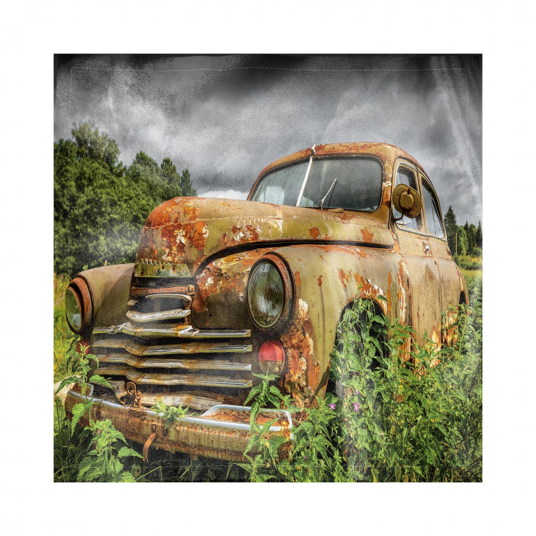 Abandoned Napkins Set Of 4, Discarded Forgotten Junk Car
