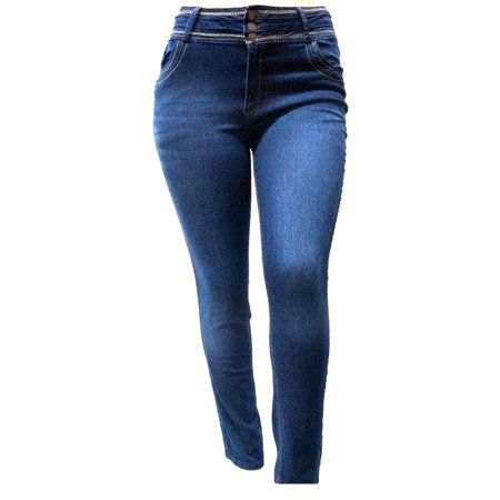 Blue Stretch Pants - NEW Womens Plus Size Blue Denim Jeans Stretch Skinny High Waist Pants ML8958
