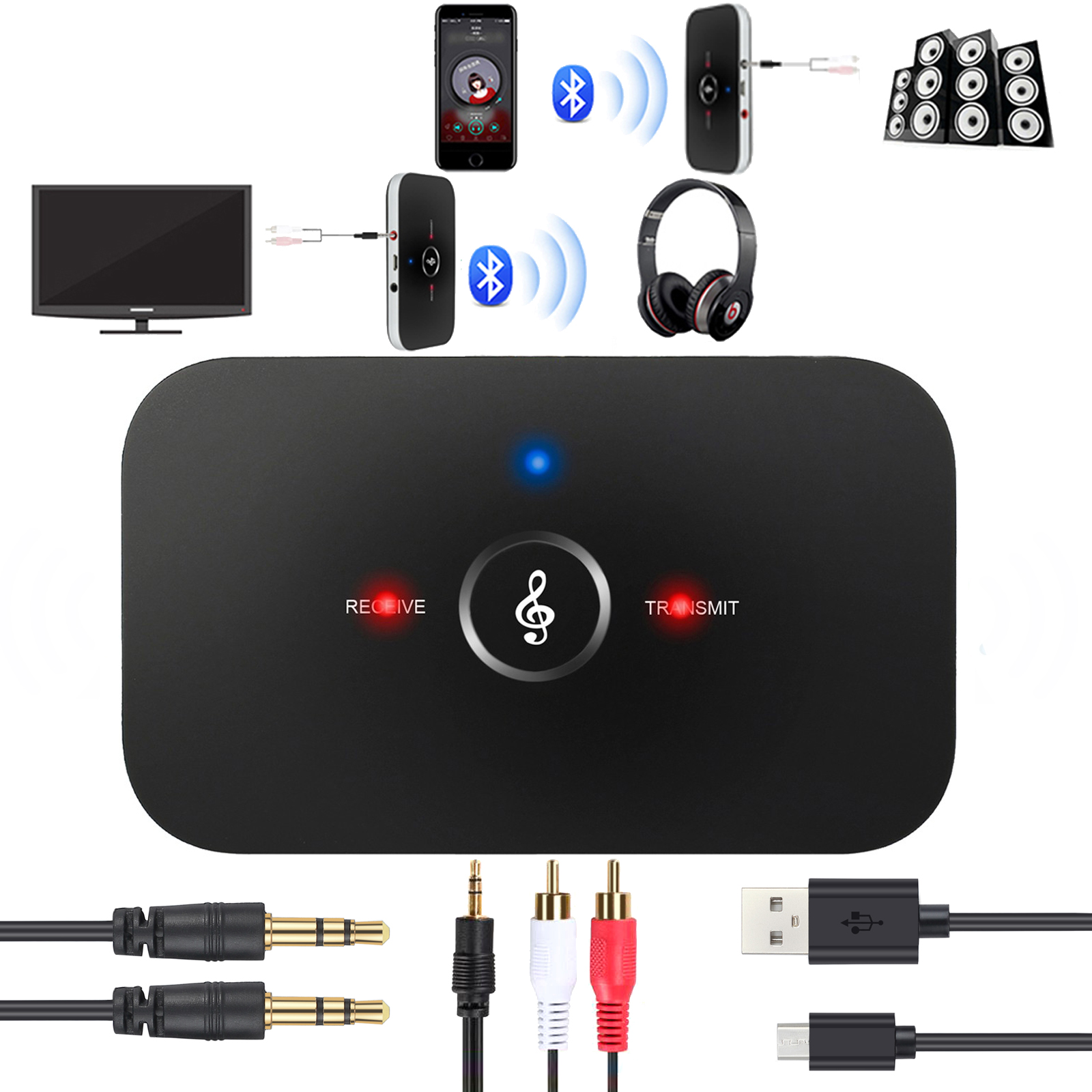 ESYNIC Wireless Bluetooth Transmitter Receiver Kit 2 in 1 Wireless Stereo Audio Adapter Car Kit A2DP AUX Stereo Audio Adapter with 3.5mm Stereo Audio Port for Headset TV PC Phone Speaker