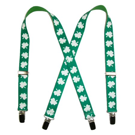 Size one size Kids' Elastic St. Patricks Day Shamrock Clip End Suspenders, Green - Green Suspenders