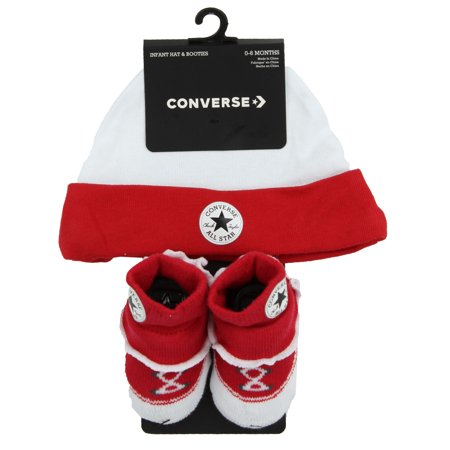 Converse Infant Hat and Frilly Bootie Set (Red (R4U), 0-6 Months) (Infants Converse Sale)