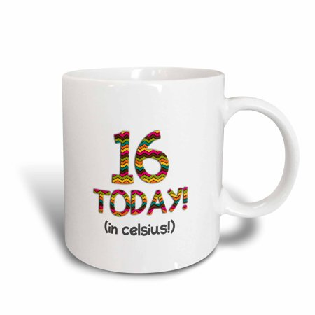 3dRose 16 Today? in celsius - Funny 60th Birthday. 16C is 60 in fahrenheit, Ceramic Mug, - Todays Birthday
