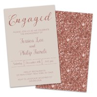 Personalized Rose Gold Sparkle Engagement Party Invitations