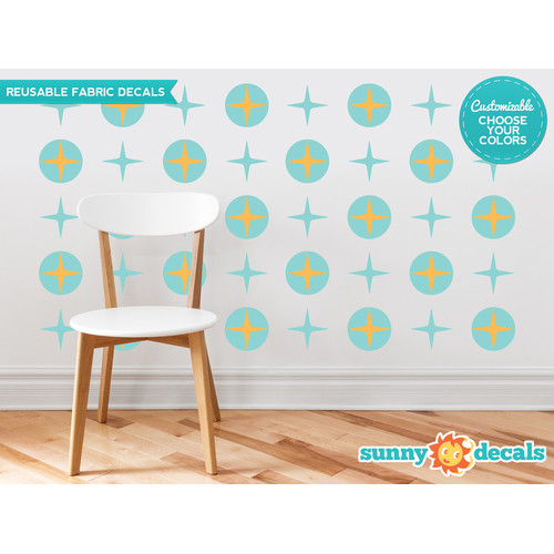 Sunny Decals Circles and Stars Fabric Wall Decal (Set of 20)
