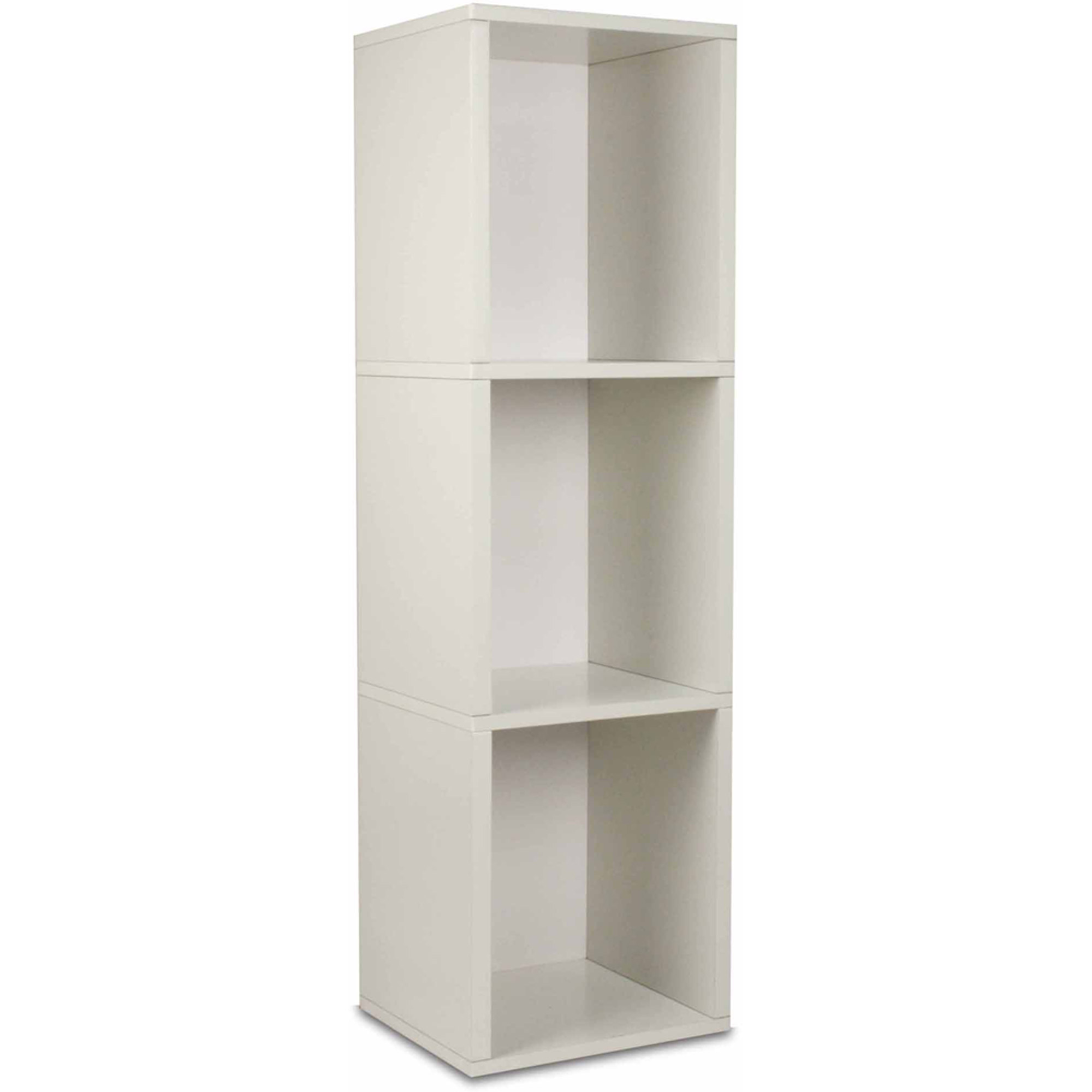 Way Basics Eco 3 Shelf Triple Cube Plus Narrow Bookcase And Storage Shelf,  White
