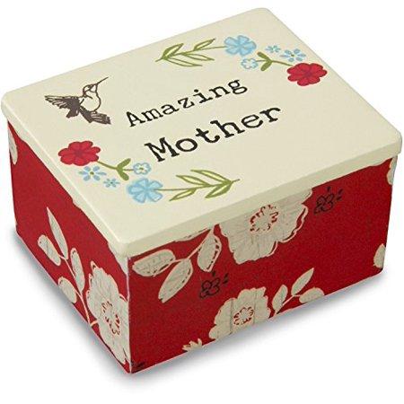 Pavilion Gift Company Live Simply Amazing Mother Humming Bird Jewelry Keepsake Box, Red