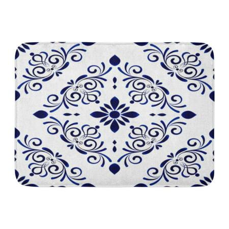 GODPOK Spanish Baroque Style Damask Floral Flower Blue White Vases Simple Ceramic Pattern Machine Rug Doormat Bath Mat 23.6x15.7 inch