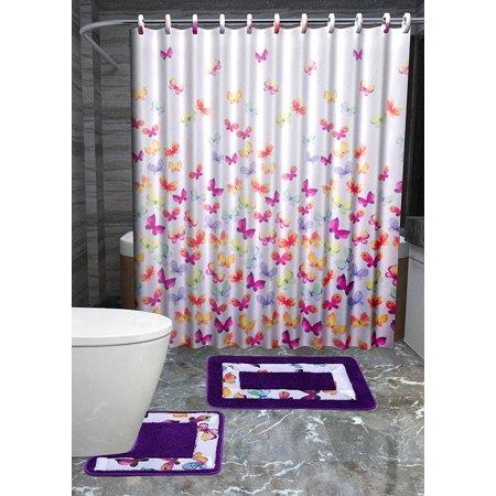Linden 12 Piece - GorgeousHomeLinen 15-Piece Butterfly Multicolor Bathroom two Non-slip Bath Contour Rug Mat Set one Fabric Shower Curtain 12 fabric Hooks Included, 15 Piece.., By Gorgeous Home LINEN