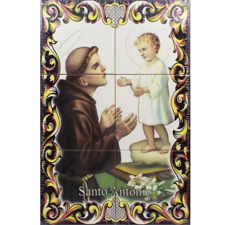 St. Anthony & The Child Portuguese Ceramic Tile Art Wall Panel Mural Decor