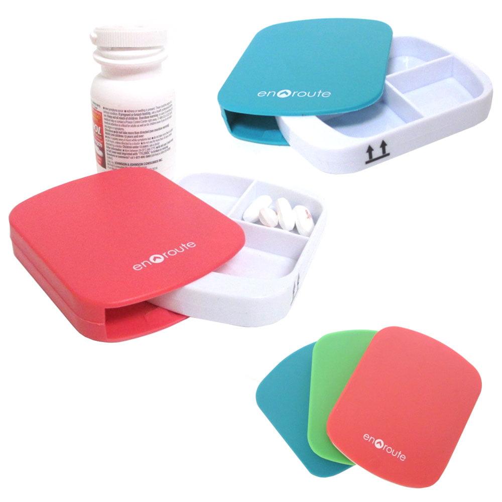 2 Pc Pill Case 4 Compartment Dispenser Box Medicine Tablet Holder Organizer New