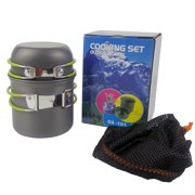 Newest Upgraded 2Pcs/Set Single Camping Pot Camping Picnic Barbecue Pot Picnic Portable Folding Pot High Temperature Resistance Green