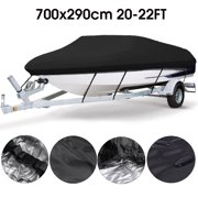 Waterproof and Sunscreen Heavy Duty Trailerable Boat Cover With Storage Bag Fits V-hull Boats 11-13ft/ 14-16ft/ 17-19ft/ 20-22ft Black/ Red/ Green/ Grey/ Blue