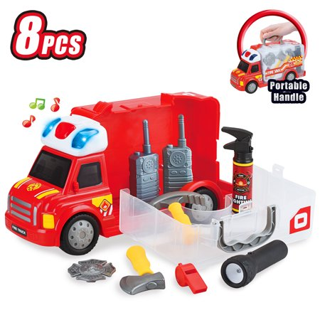 Best Choice Products 8-Piece Kids Portable Push & Play Fix-It Storage Vehicle Fire Truck Pretend Toy Set w/ LED Lights, Sounds, Walkie-Talkies, Axe, Extinguisher, Flashlight, Badge,