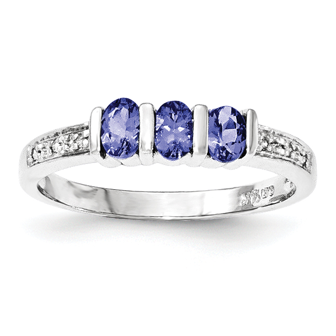 14k White Gold Tanzanite and Diamond Ring by Midwest Jewelry