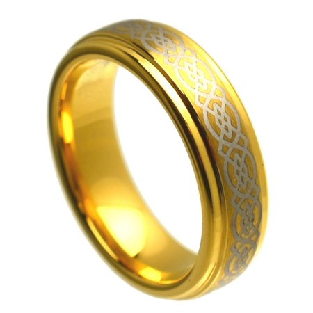 6mm Tungsten Carbide Gold Plated Brushed Center With Celtic Pattern Wedding Band Ring For Men or Ladies