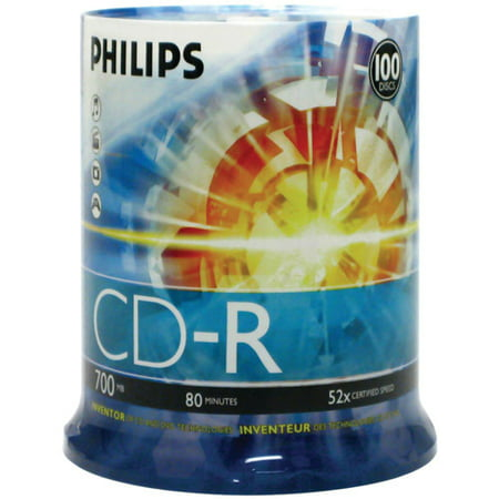 Philips CDR80D52N/650 700MB 52x CD-Rs, 100-ct Cake Box