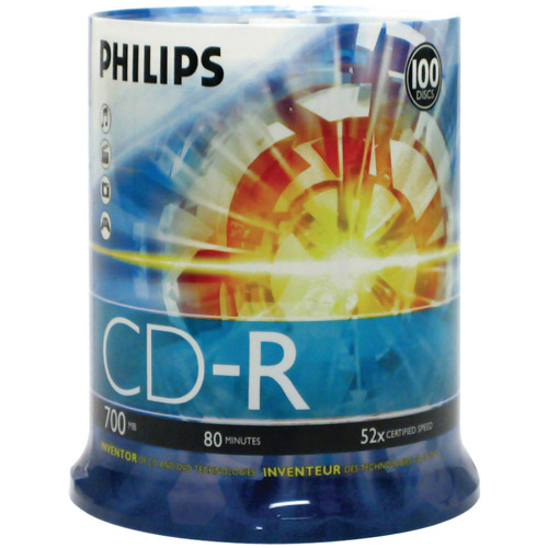 Philips CDR80D52N/650 700MB 52x CD-Rs, 100-ct Cake Box Spindle