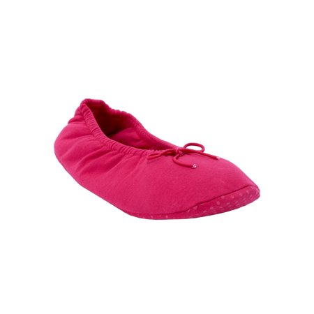 Dreams & Co. Plus Size Knit Ballerina Slippers](Foldable Slippers In A Bag)
