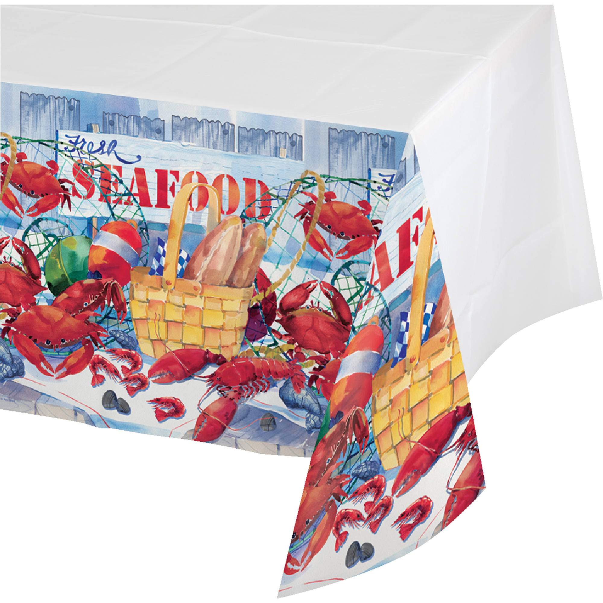 Seafood Celebration Plastic Table Cover