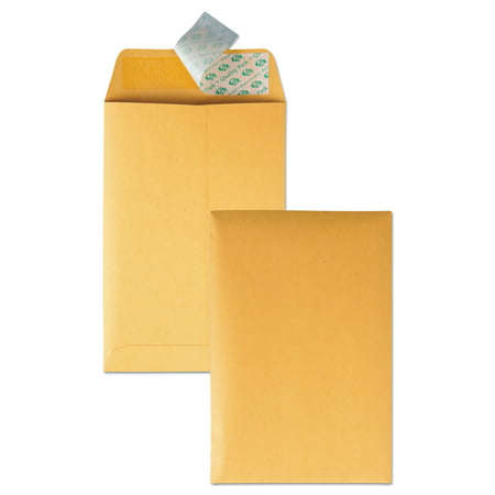 Quality Park Redi Strip Catalog Envelope, #55, 6 x 9, Brown Kraft, (White Self Sealing Catalog Envelopes)