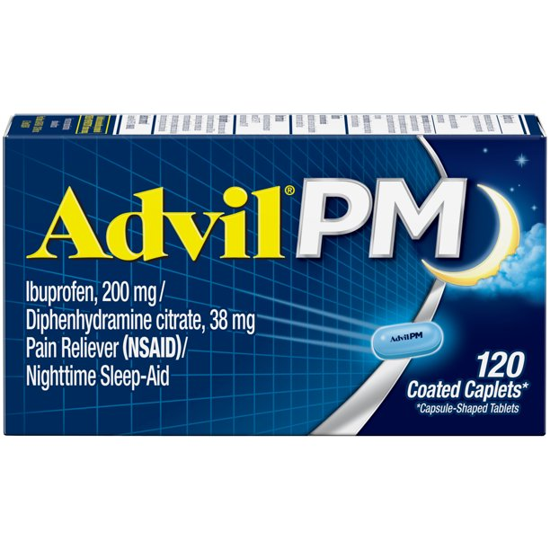 Advil PM (120 Count) Pain Reliever / Nighttime Sleep Aid Coated Caplet, 200mg Ibuprofen, 38mg Diphenhydramine
