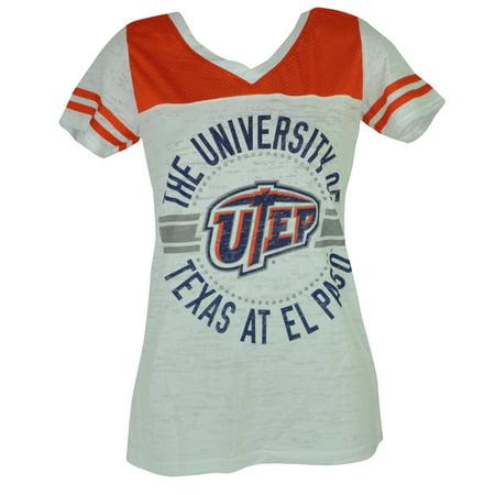 NCAA UTEP Texas El Paso Miners V Neck Women Ladies Tshirt Tee Pink White (Sport Stores In El Paso Tx)
