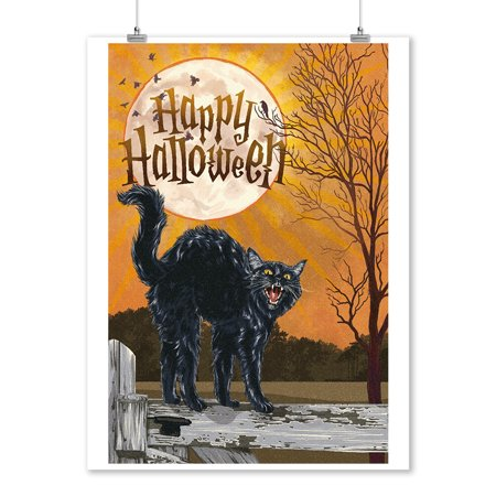 Halloween - Happy Halloween - Black Cat & Moon - Lantern Press Artwork (9x12 Art Print, Wall Decor Travel Poster) - Happy Halloween Artwork
