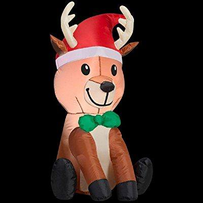 09d53eebf christmas inflatable 3.5' led reindeer with santa hat & bowtie by gemmy
