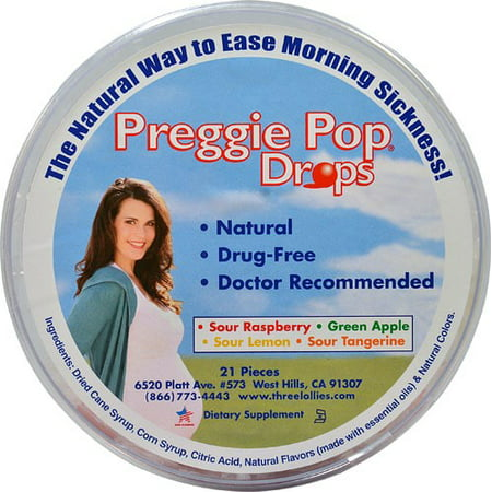 Three Lollies Preggie Pop Morning Sickness Drops, 21 Ct
