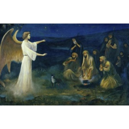 Angel Announcing the Birth of Christ to Shepherds Robert Leinweber (1845-1915 German) Canvas Art - Robert Leinweber (18 x 24)