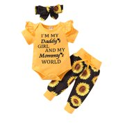 Yinyinxull 3Pcs Infant Baby Girls Clothes Ruffle Romper Floral Pants Headband Summer Sets Yellow 3-6 Months