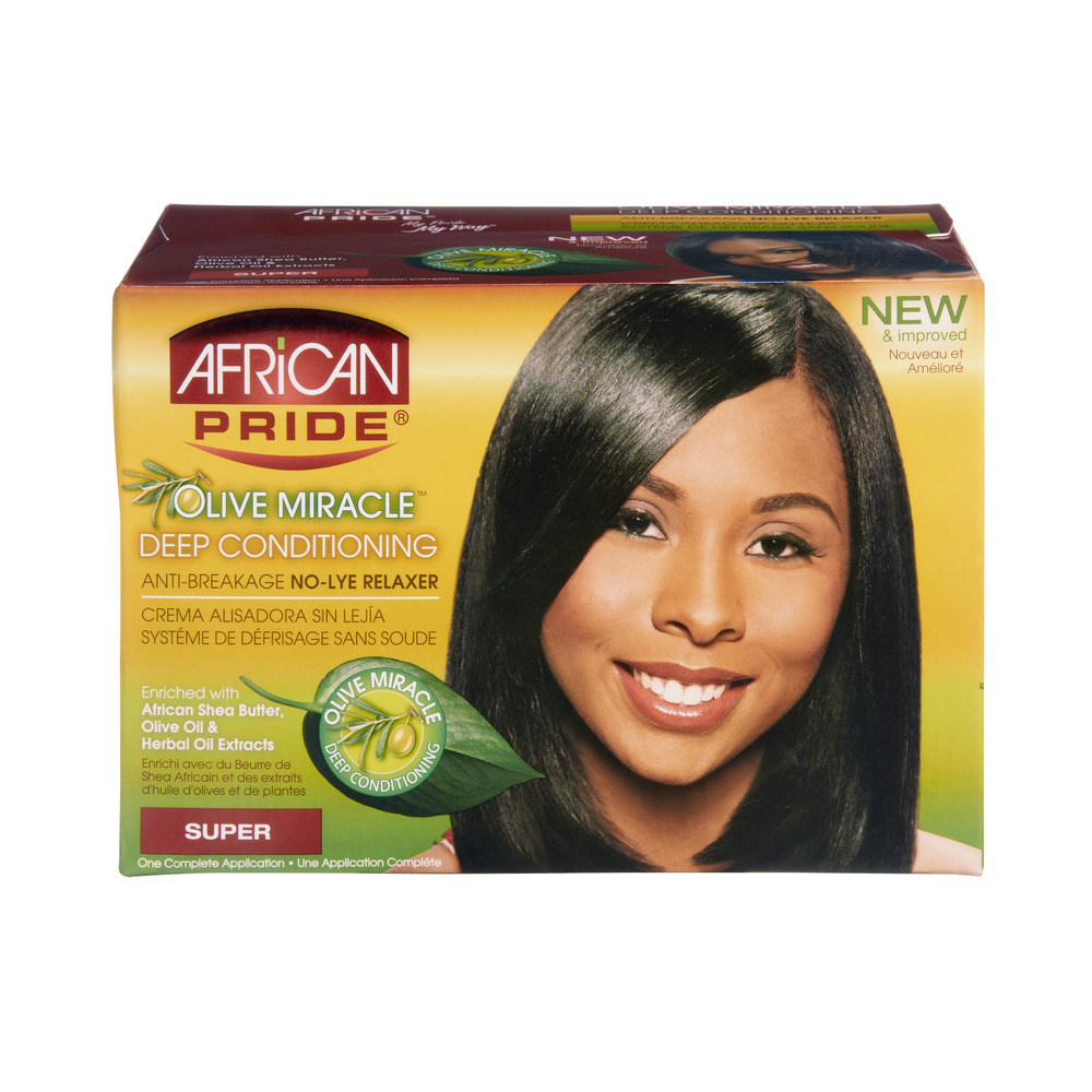 African Pride Olive Miracle Super Deep Conditioning Anti-Breakage No-Lye Relaxer, 1.0 CT