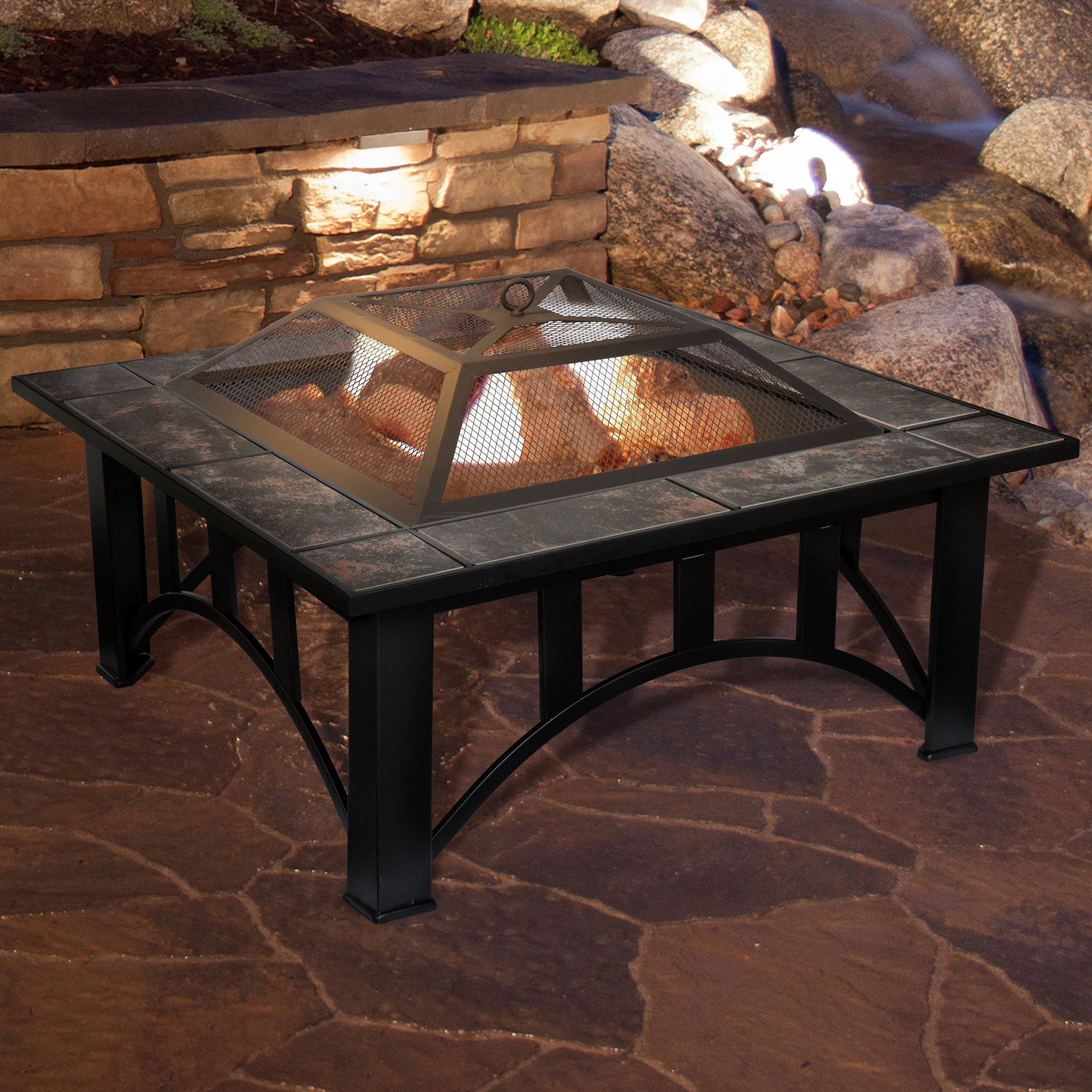 Fire Pit Set, Wood Burning Pit   Includes Screen, Cover And Log Poker    Great For Outdoor And Patio, 33 Inch Square Marble Tile Firepit By Pure  Garden ...
