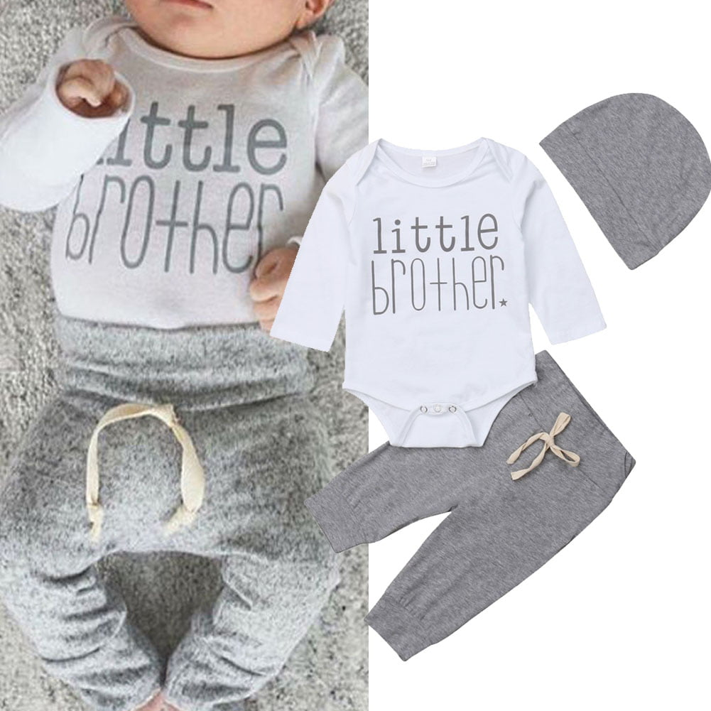 Canis Newborn Baby Boys Long Sleeve Little Brother Romper Jumpsuit Solid Black