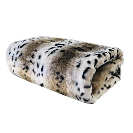 Plutus Snow Lynx Faux Fur Luxury Throw 60