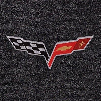 2005 - 2007.5 C6 Corvette Velourtex Lloyd Mats Ebony with Cross Flags Logo