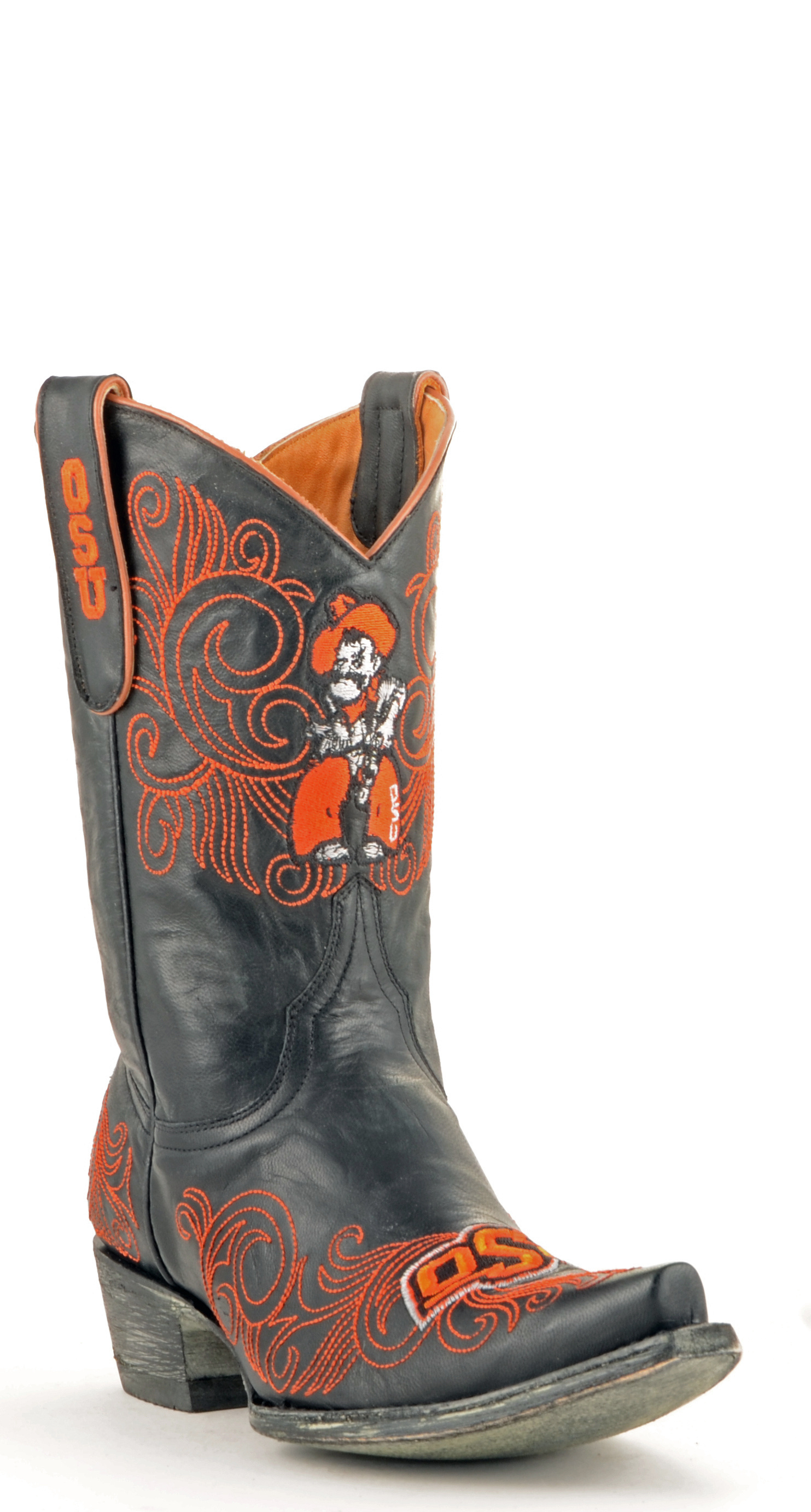 """Gameday Boots Women's 10"""" Short Black Leather Oklahoma State Cowboy Boots Size 6 by GameDay Boots"""
