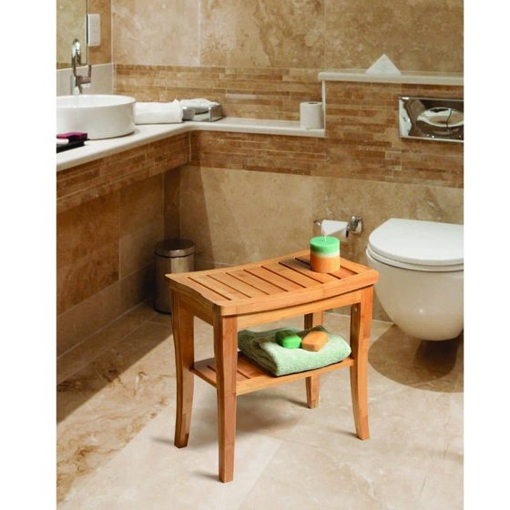 Bamboo Shower Seat Bench with Storage Shelf for Seating, Support ...