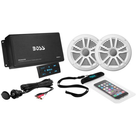 Boss Audio Ask902b 6 500 Watt 4 Channel Bluetooth Amplifier  1 Pair Marine Speakers  Usb Cable