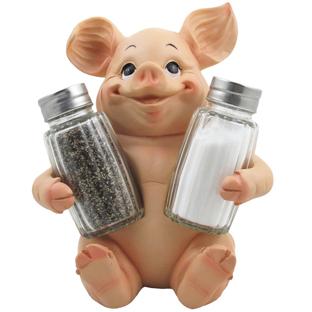 Sitting Pig Salt And Pepper Shaker Set With Decorative Farm Animal