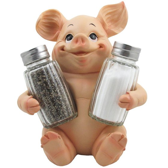 Sitting Pig Salt And Pepper Shaker Set With Decorative Farm Animal Figurine E Rack For Rustic