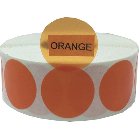 Orange Transparent Circle Dot Stickers, 1 Inch Round, 500 Labels on a (Orange Transparent Body)