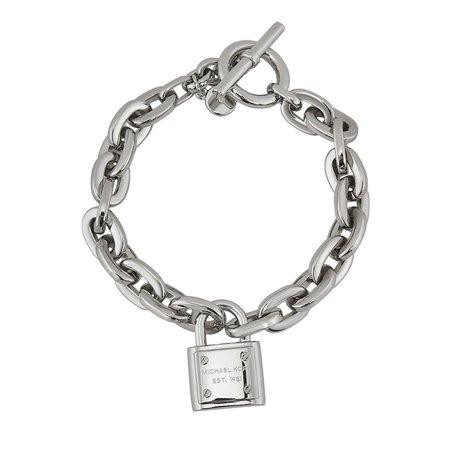 Michael Kors Silver Tone Logo Padlock Bracelet Mkj3312040