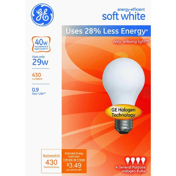Philips EcoVantage A19 Medium Halogen Light Bulb (4-Pack)