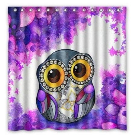 GreenDecor Animal Series Cute Owl Purple Waterproof Shower Curtain Set with Hooks Bathroom Accessories Size 60x72 inches ()
